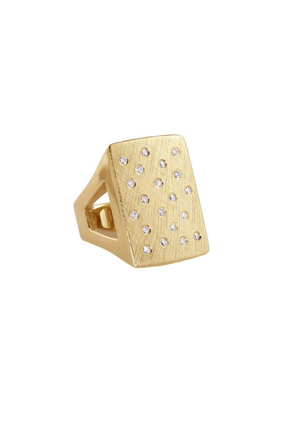 Julez Bryant 14K Yellow Gold Block Diamond Ring