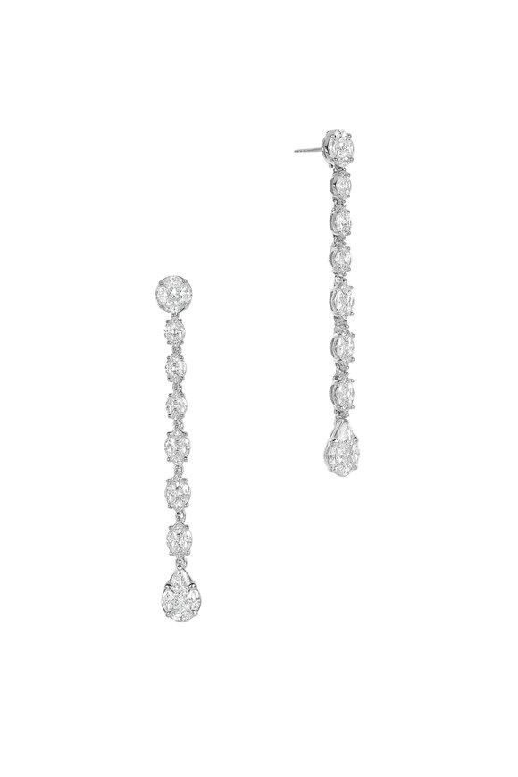 Nam Cho 18K White Gold Invisible Diamond Line Earrings
