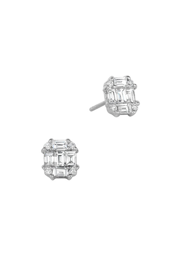 Nam Cho 18K White Gold Invisible Post Diamond Earrings