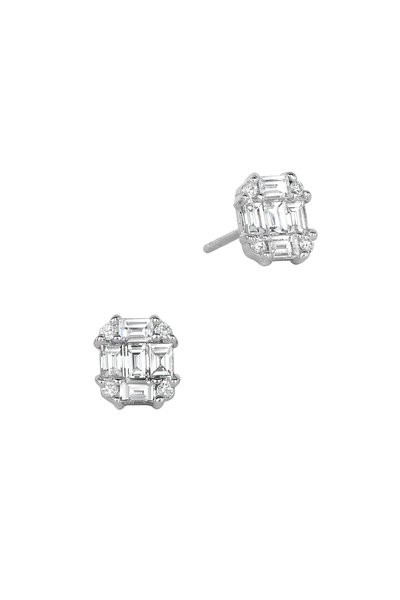 Nam Cho - 18K White Gold Invisible Post Diamond Earrings