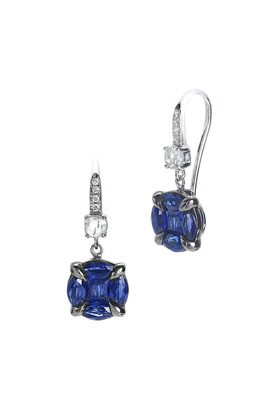 Nam Cho - 18K White Gold Invisible Blue Sapphire Earrings