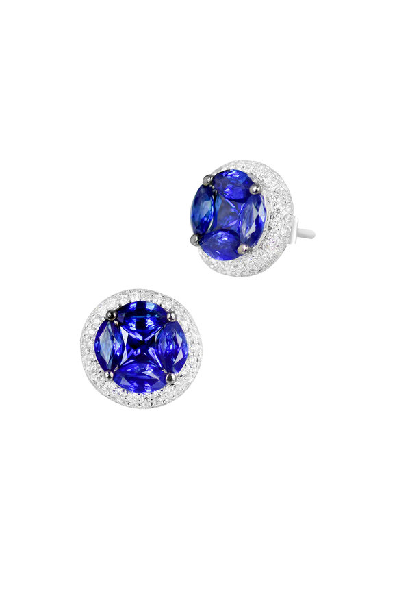Nam Cho 18K White Gold Invisible Sapphire Stud Earrings