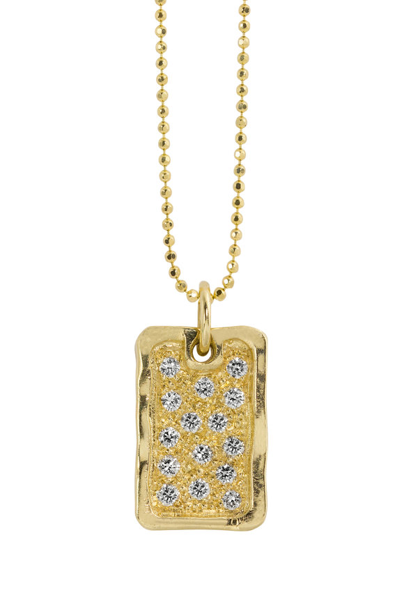 Julez Bryant 14K Yellow Gold Deft Small Dog Tag Necklace