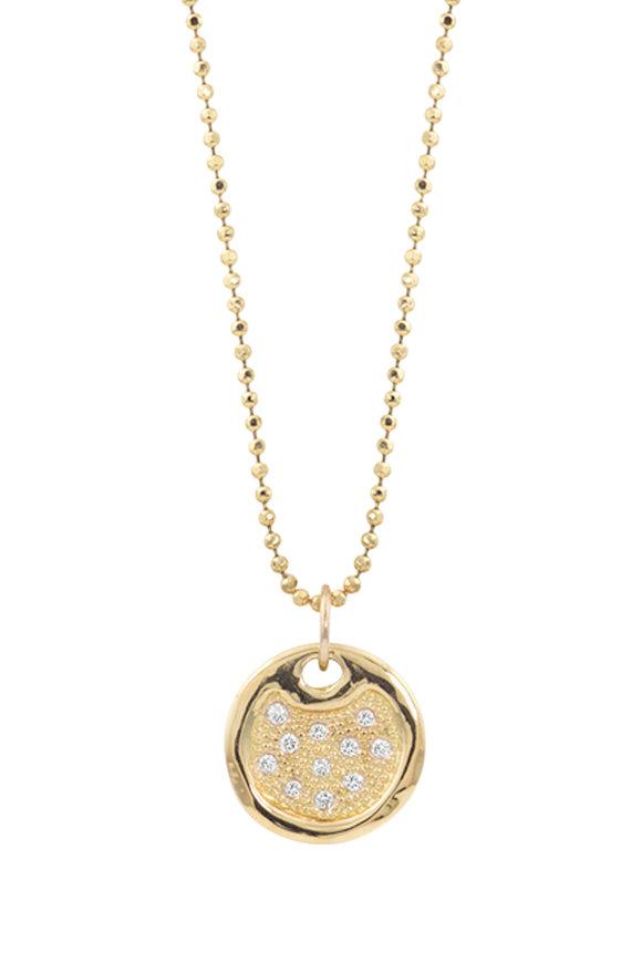 Julez Bryant 14K Yellow Gold Dena Pavé Round Pendant Necklace