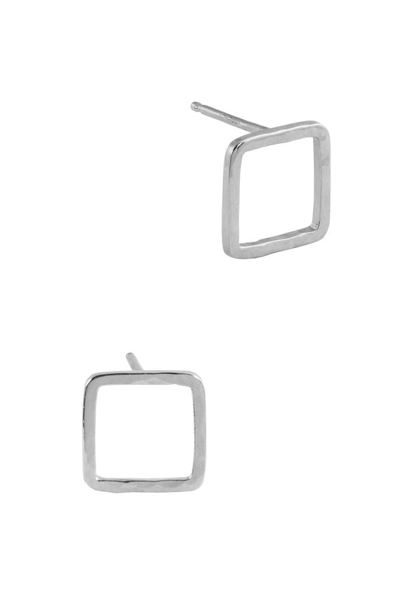 Julez Bryant 14K White Gold Pesh Baby Square Post Earrings