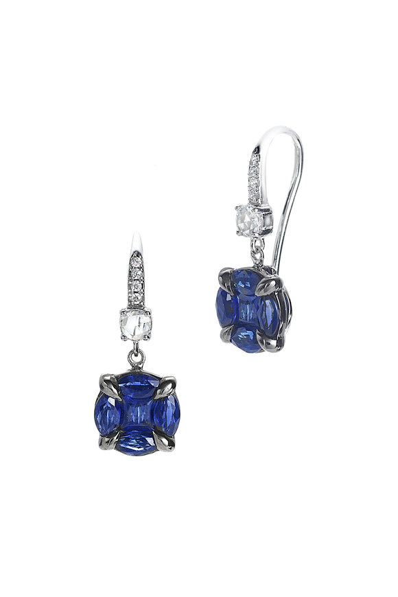 Nam Cho 18K White Gold Invisible Sapphire Dangle Earrings