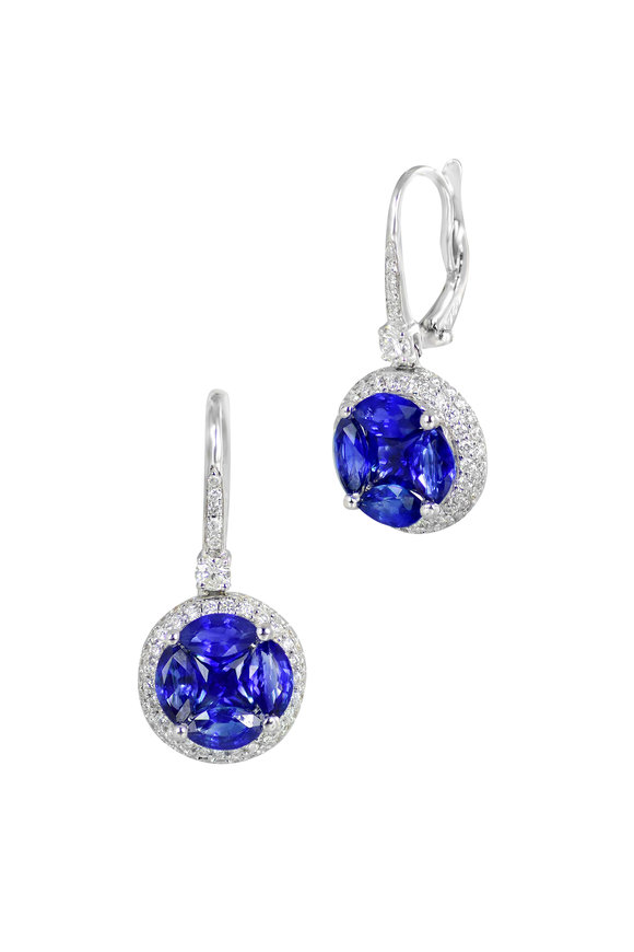 Nam Cho 18K White Gold Invisible Sapphire Earrings
