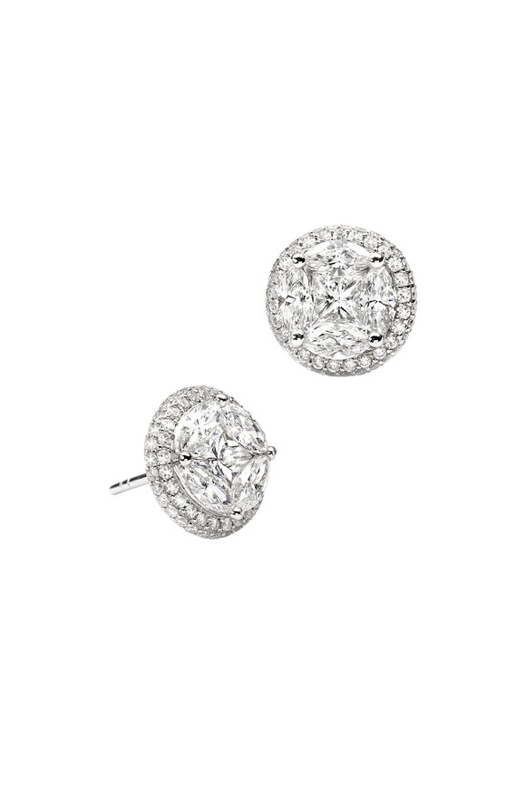 Nam Cho 18K White Gold Invisible 10mm Diamond Earrings