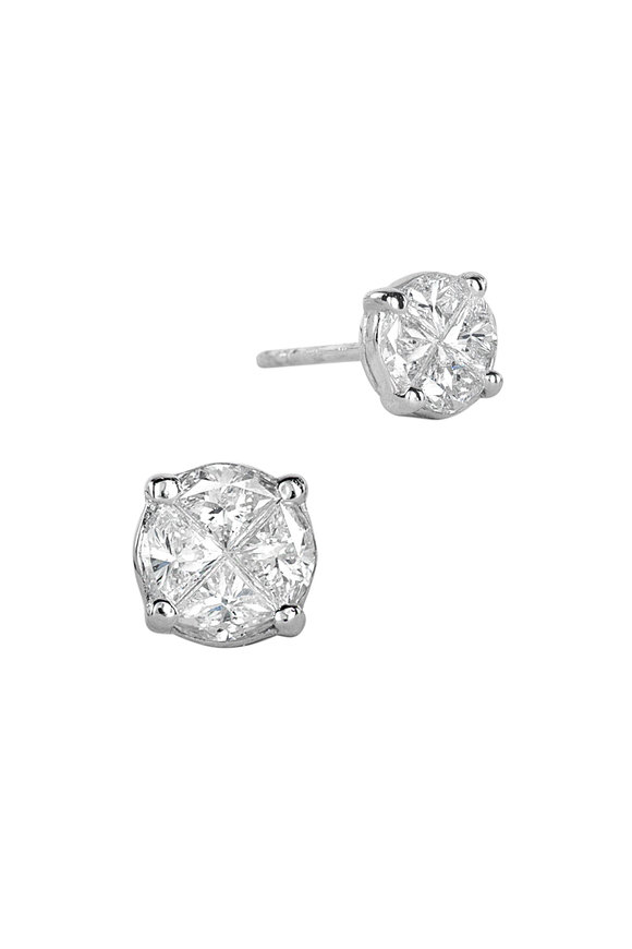 Nam Cho 18K White Gold Large Invisible Stud Earrings