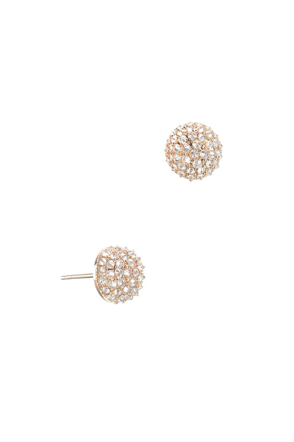 Nam Cho 18K Rose Gold Ice Diamond Half Ball Earrings