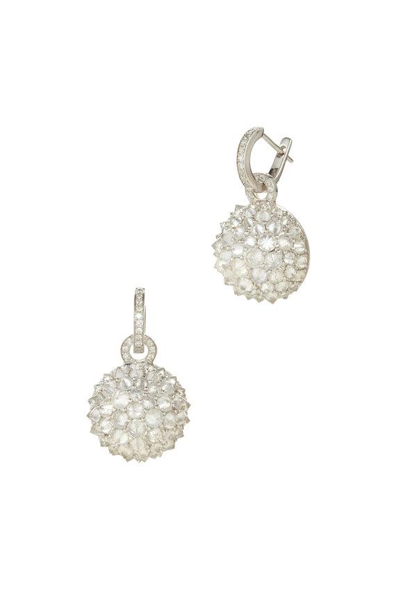 Nam Cho 18K White Gold Half Ball Detachable Hoop Earrings