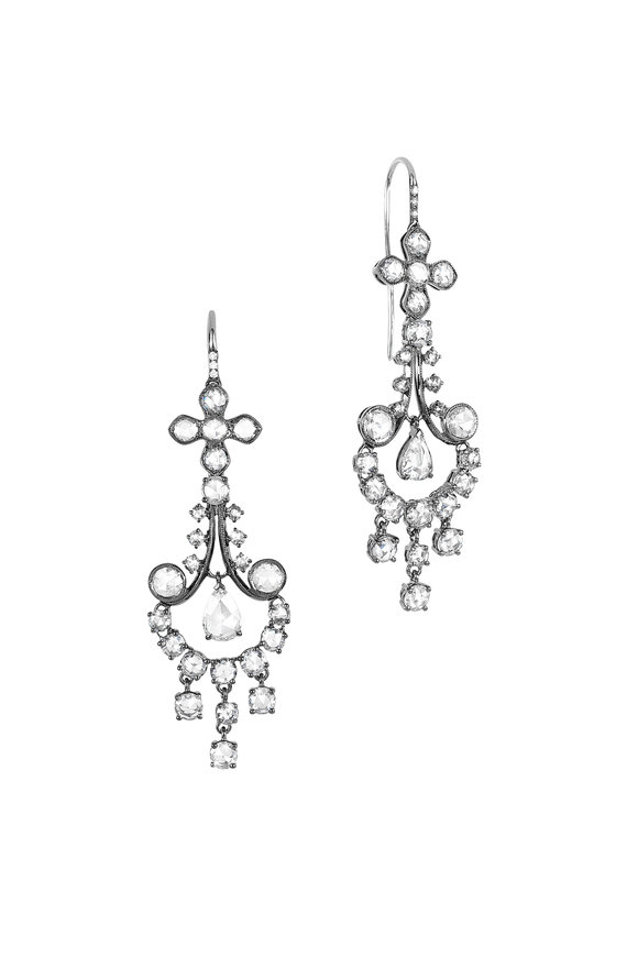 Nam Cho 18K White Gold Long Girandole Diamond Earrings