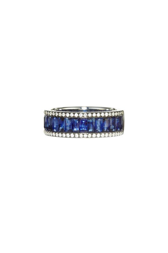 Nam Cho 18K White Gold Baguette Sapphire Ring