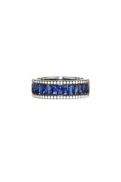 Nam Cho - 18K White Gold Baguette Sapphire Ring