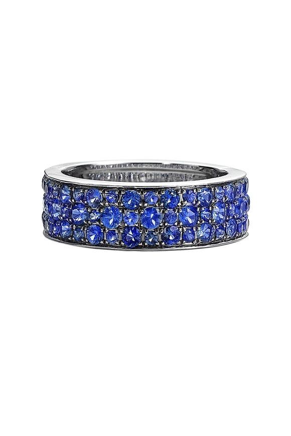 Nam Cho 18K White Gold Three Row Pavé Sapphire Ring