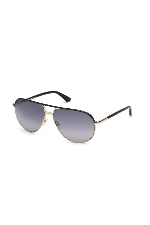 Tom Ford Eyewear Cole Black & Gold Aviator Polarized Sunglasses