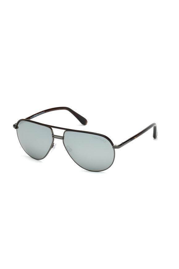 Tom Ford Eyewear Cole Dark Havana Aviator Sunglasses