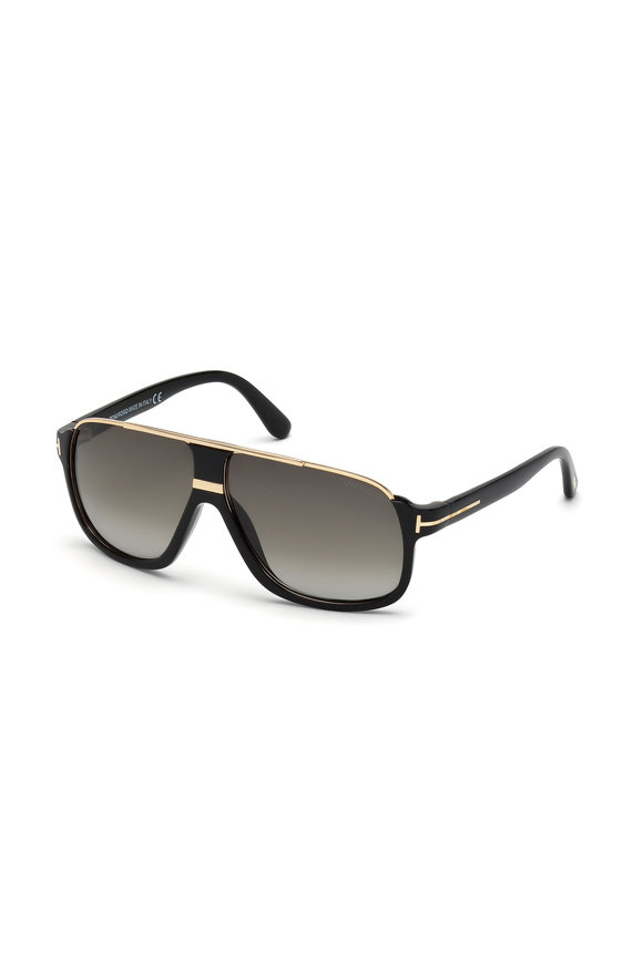 Tom Ford Eyewear Elliot Shiny Black Square Sunglasses