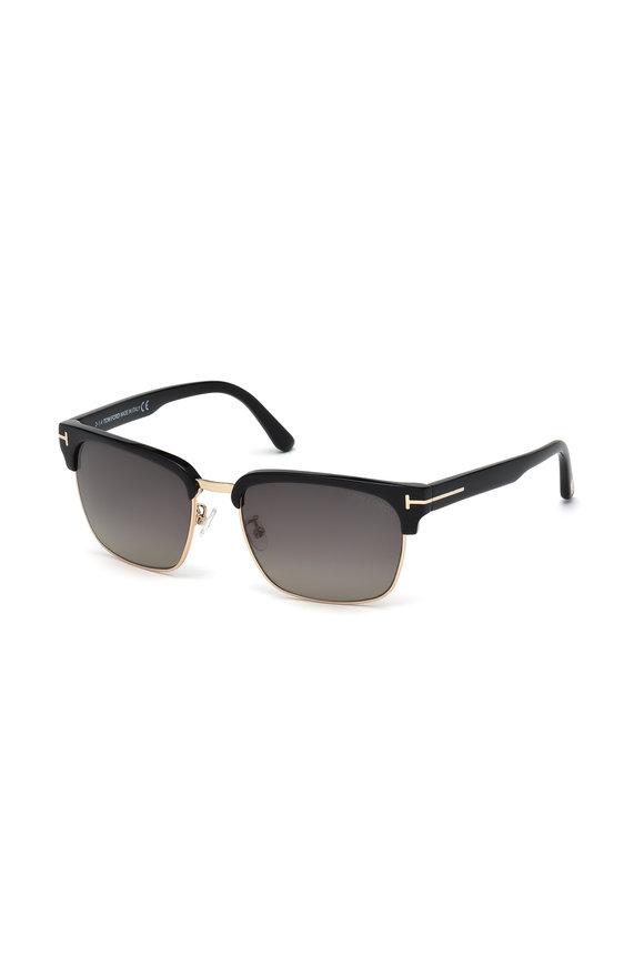 Tom Ford Eyewear River Black Polarized Vintage Square Sunglasses