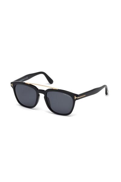Tom Ford Eyewear - Holt Shiny Black & Rose Gold Logo Sunglasses