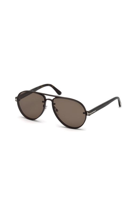 Tom Ford Eyewear Alexei Ruthenium & Black Soft Pilot Sunglasses