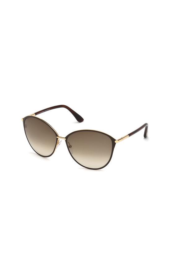 Tom Ford Eyewear Penelope Shiny Rose Gold & Brown Sunglasses
