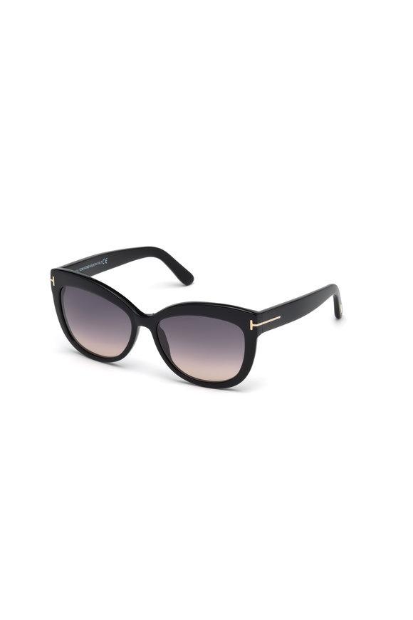 Tom Ford Eyewear Alistair Shiny Black Soft Square Sunglasses