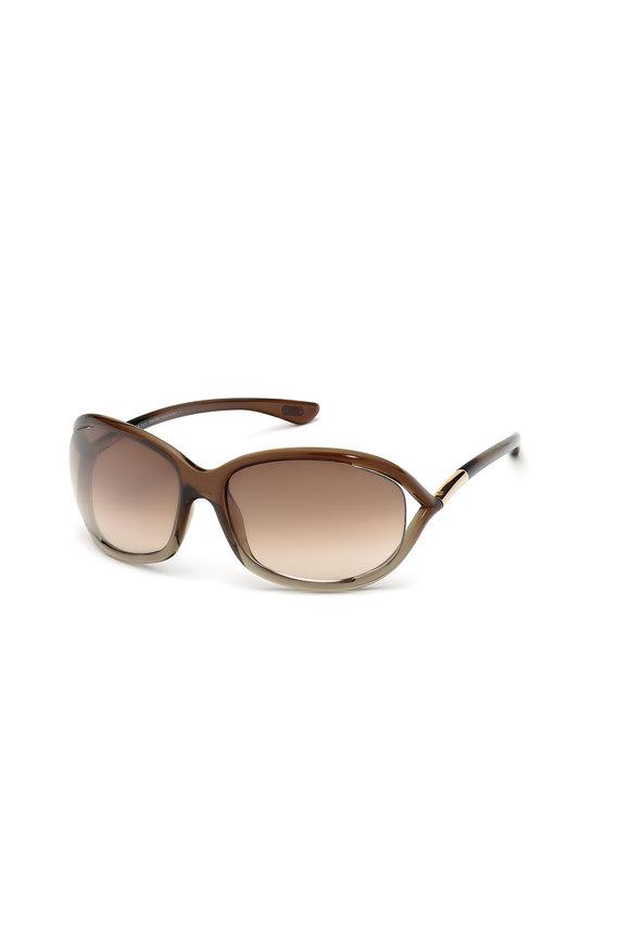 Tom Ford Eyewear Jennifer Bronze & Brown Soft Square Sunglasses