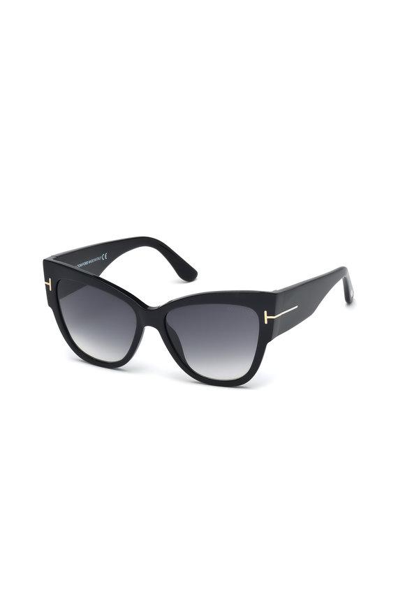 Tom Ford Eyewear Anoushka Shiny Black Cat Eye Sunglasses