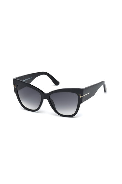 Tom Ford Eyewear - Anoushka Shiny Black Cat Eye Sunglasses