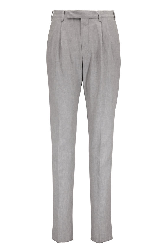Ermenegildo Zegna Gray Cotton & Linen Pleated Pant