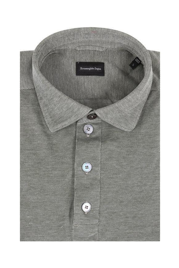 Ermenegildo Zegna Olive Piqué Long Sleeve Polo