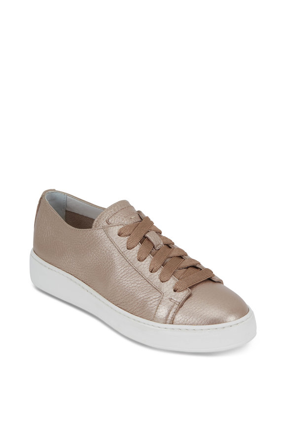 Santoni Metallic Champagne Leather Lace-Up Sneaker