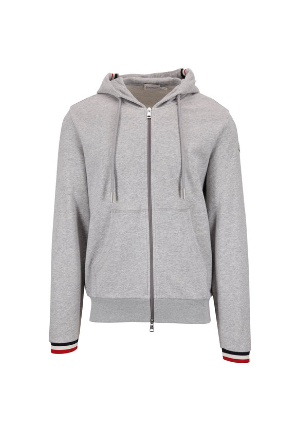 Moncler Gray Signature Cuffs Front Zip Hoodie