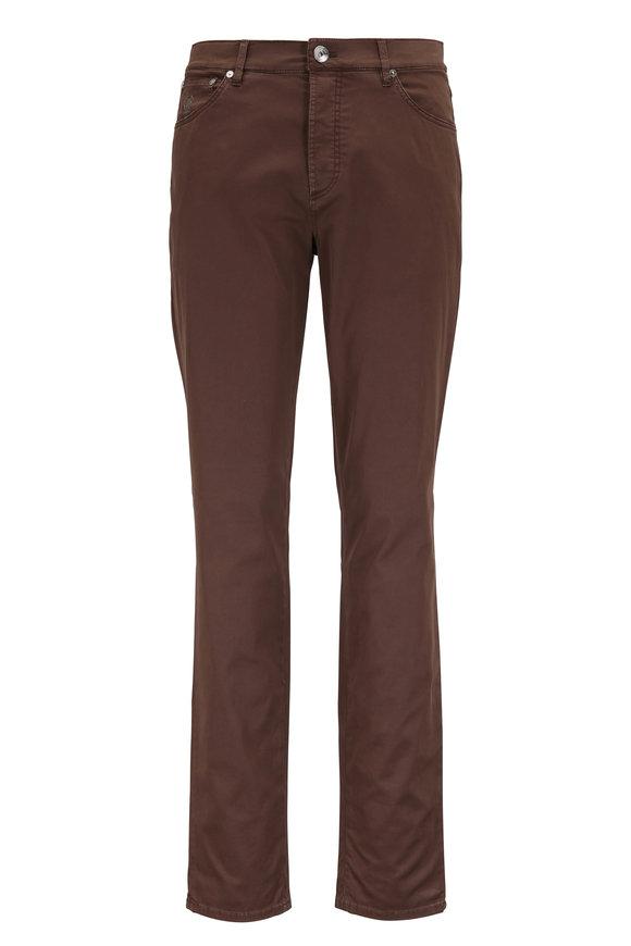 Brunello Cucinelli Brown Stretch Cotton Traditional Fit Jean