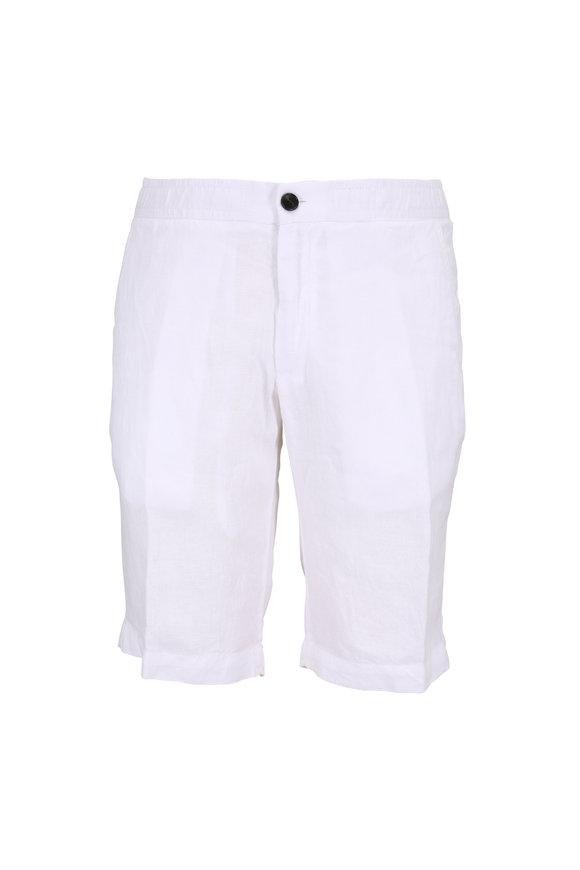 Z Zegna White Garment Dyed Linen Shorts