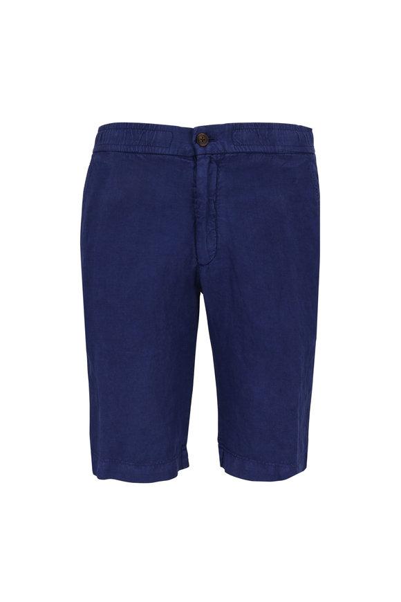 Z Zegna Blue Garment Dyed Linen Shorts
