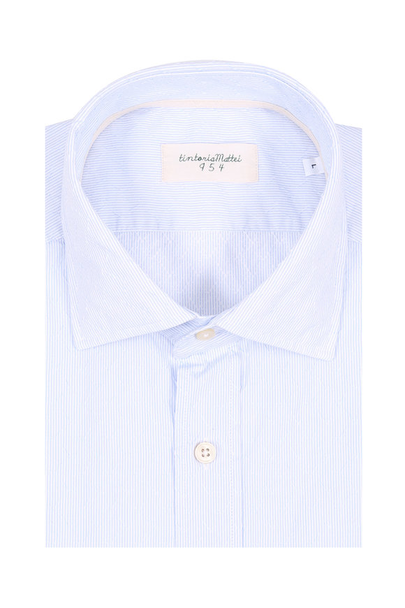 Tintoria Blue Textured Mini Stripe Contemporary Sport Shirt