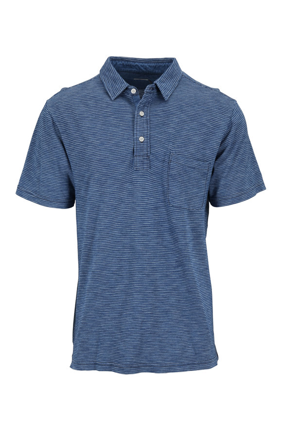 Faherty Brand Teal Striped Cotton Short Sleeve Polo