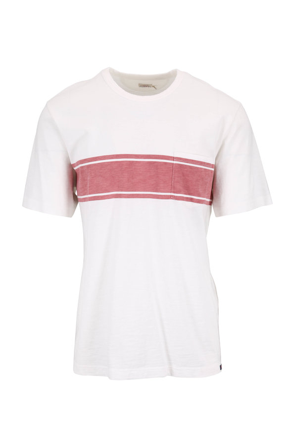 Faherty Brand White & Red Surf Stripe T-Shirt