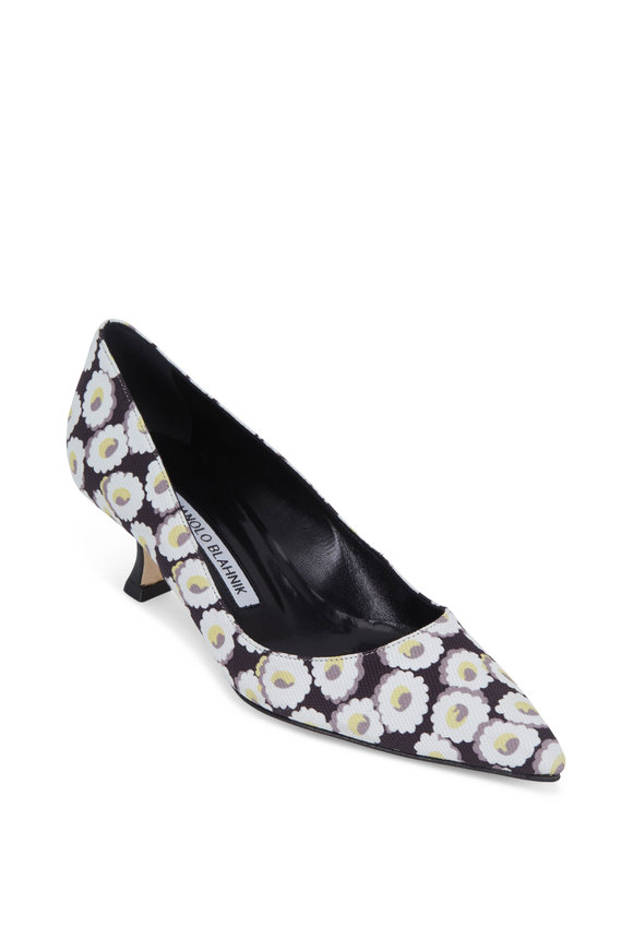 Manolo Blahnik Lisa Black & White Floral Print Pump, 50mm