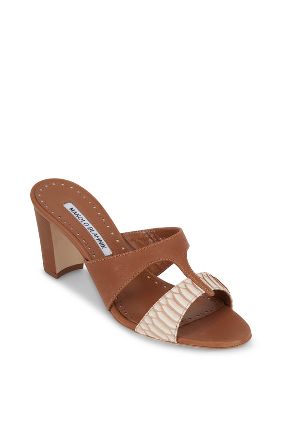 Manolo Blahnik Medjulup Cognac Snakeskin & Leather Slide, 70mm