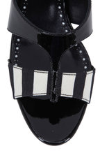 Manolo Blahnik - Medjuel Black & White Striped Slide, 70mm