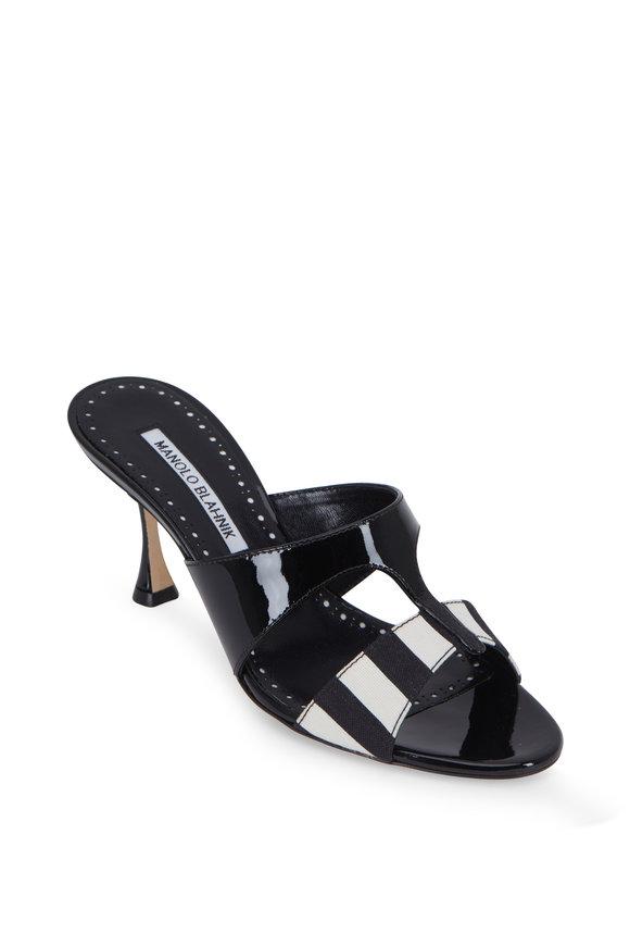 250250026c1c Manolo Blahnik Medjuel Black   White Striped Slide
