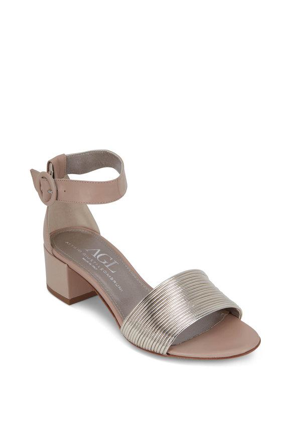 AGL Gold Multi-Band Block Heel Sandal, 50mm