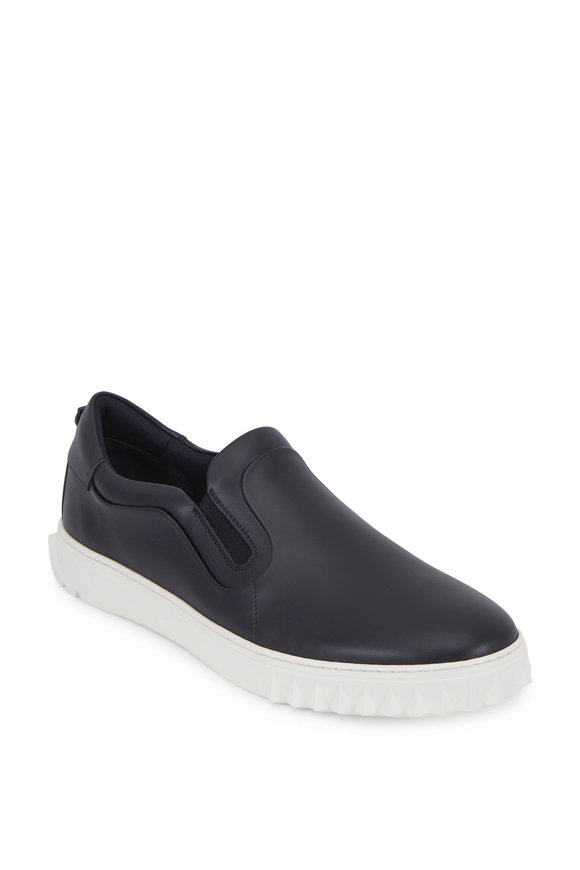 Salvatore Ferragamo Cruise Black Leather Slip-On Sneaker