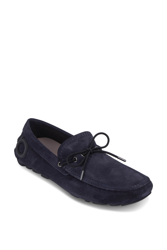 Salvatore Ferragamo Atlante Dark Blue Suede Gancini Loafer