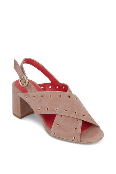 Pas de Rouge - Fleur Beige Suede Grommet Sandal, 60mm