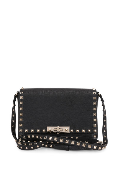 Valentino Garavani - Rockstud Black Leather Small Crossbody Bag