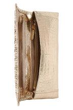Nancy Gonzalez - Champagne Crocodile & Natural Straw Woven Clutch